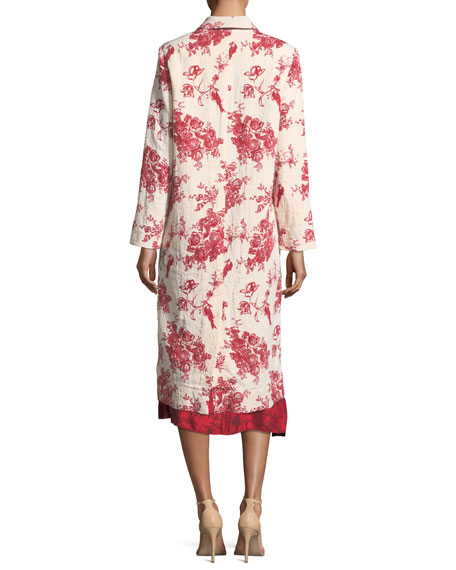 Liberty Print Open-Front Jacquard Duster Coat