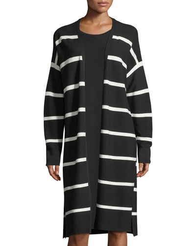 Matte Crepe Long Striped Cardigan, Plus Size