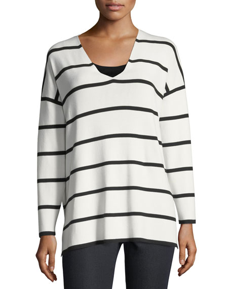 Striped V-Neck Matte Crepe Sweater, Plus Size