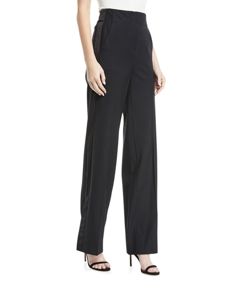 Rebecca Taylor Tuxedo High-Waist Wide-Leg Wool Pants