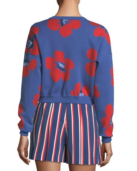 Leena Floral-Print Crop Sweatshirt