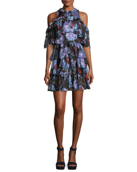 Alice + Olivia Nichola Cold-Shoulder Floral-Print Ruffled Party