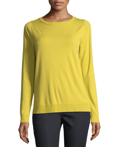 Lafayette 148 New York Matte Crepe Crewneck Sweater,