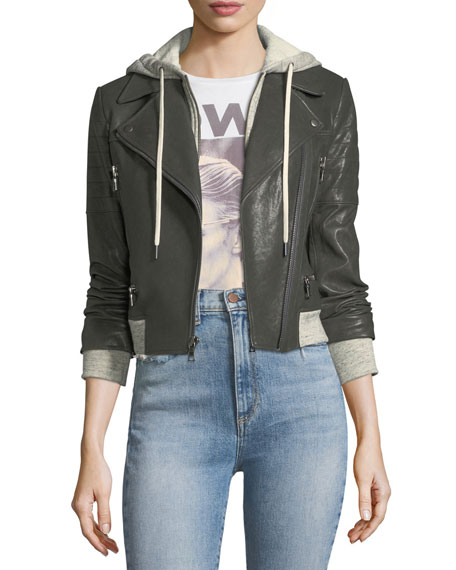 AO.LA by Alice+Olivia Avril Hooded Combo Sweatshirt Leather