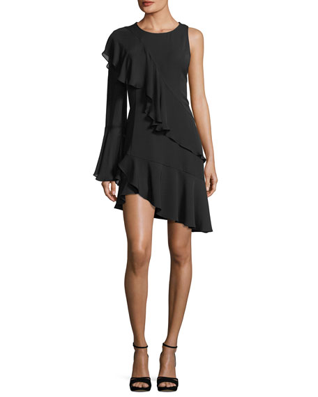 Neo One-Sleeve Tiered Ruffle Mini Dress