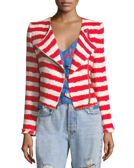 Alice + Olivia Stanton Zip-Front Striped Tweed Jacket