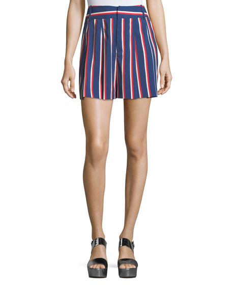 Alice + Olivia Scarlet High-Waist Striped Flutter Shorts