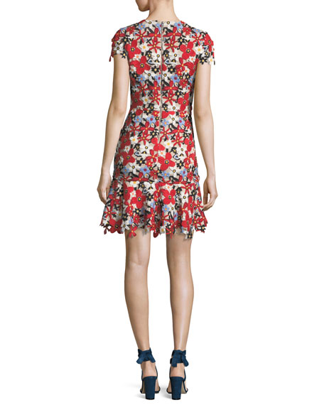Imani Floral-Lace Cap-Sleeve Fitted Short Dress