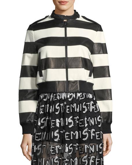 Nixon Mock-Neck Striped Leather Jacket
