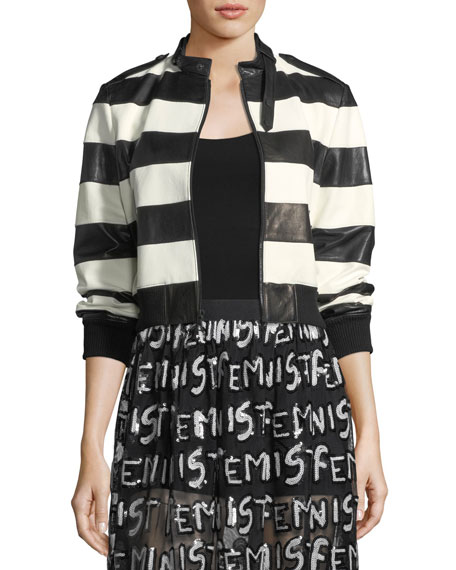 Alice + Olivia Nixon Mock-Neck Striped Leather Jacket