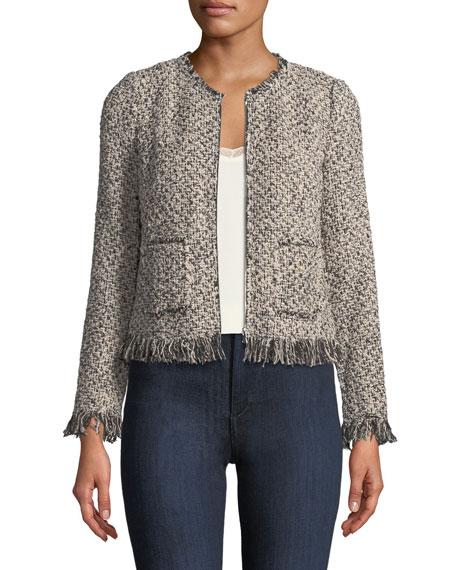 Zip-Front Tweed Jacket with Fringe