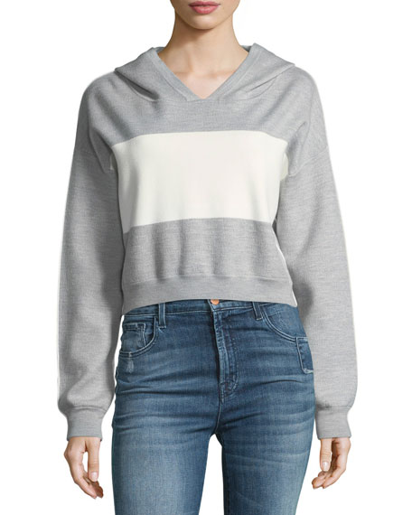 Alice + Olivia Kyle Double Knit Cropped Hoodie