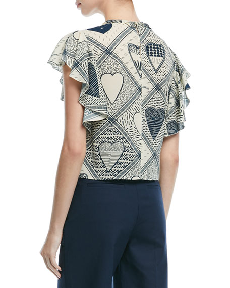 Heart-Print Stretch Crepe Flutter-Sleeve Top
