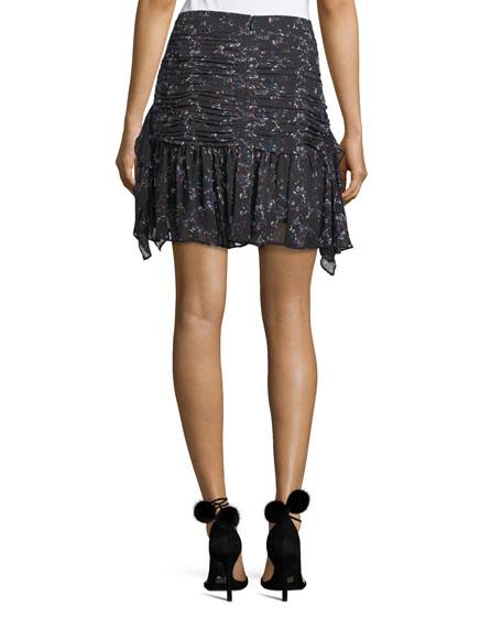Abby Juneberry Printed Silk Mini Skirt