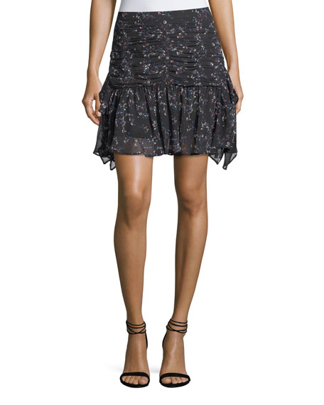 Tanya Taylor Abby Juneberry Printed Silk Mini Skirt