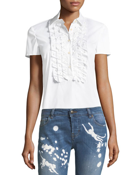 REDValentino Ruffle-Front Cotton Blouse and Matching Items