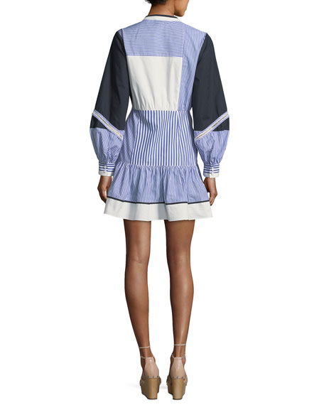 Yaya Split-Neck Full-Sleeve Menswear-Stripe Dress