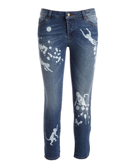 Stone-Wash Distressed Skinny Crop Jeans