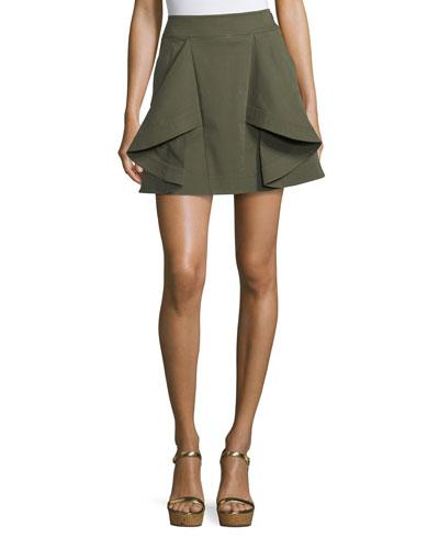 Tomi Flared Cotton Twill Mini Skirt