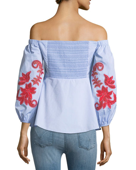 Zayden Off-the-Shoulder Engineered Lace Embroidery Poplin Top