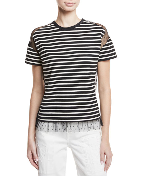 REDValentino Point d'Esprit-Inset Striped T-Shirt