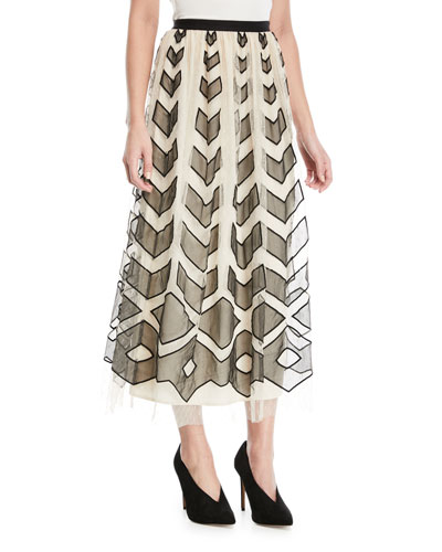 Point d'Esprit Long Skirt with Cutouts
