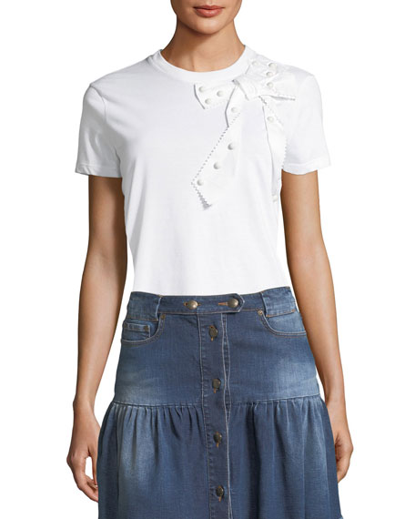 REDValentino Bow-Embellished Jersey T-Shirt