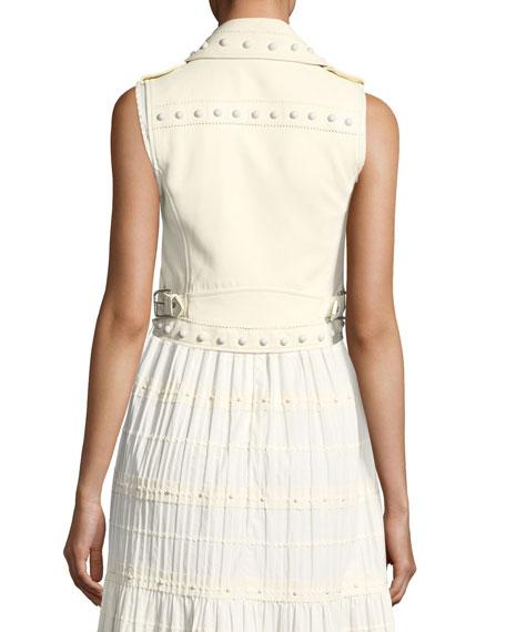 Pearl-Embellished Short Leather Vest
