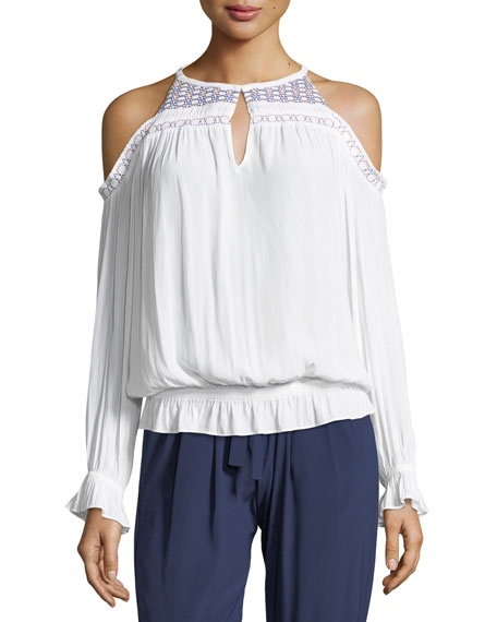 Ramy Brook Harper Cold-Shoulder Blouson Top with Embroidery