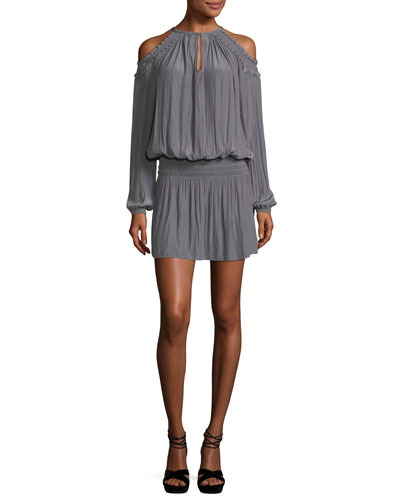 Alicia Cold-Shoulder Blouson-Top Short Dress