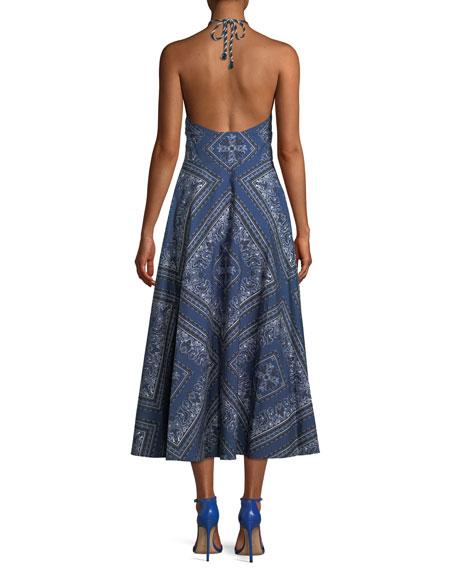 Bandana-Print Denim Long Halter Dress