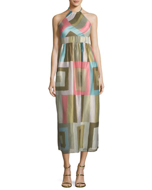 3a037135cb8c5b REDValentino Check-Print Silk-Blend Organza Halter Dress