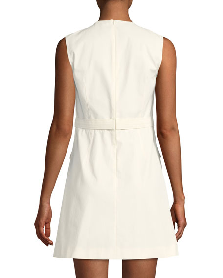 Micro-Canvas Sleeveless Dress