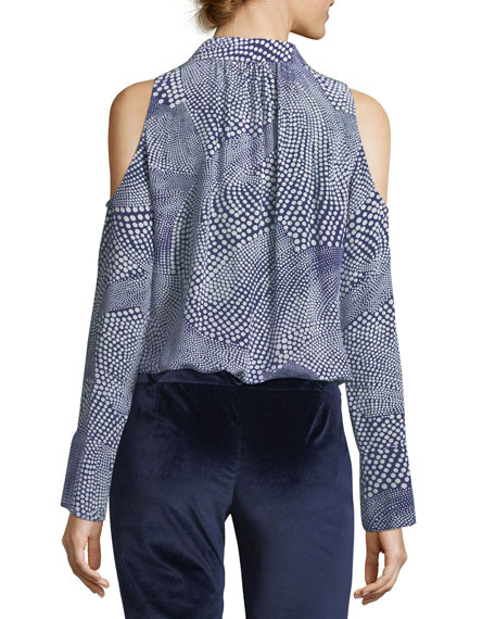 Hazel Button-Front Cold-Shoulder Printed Silk Top