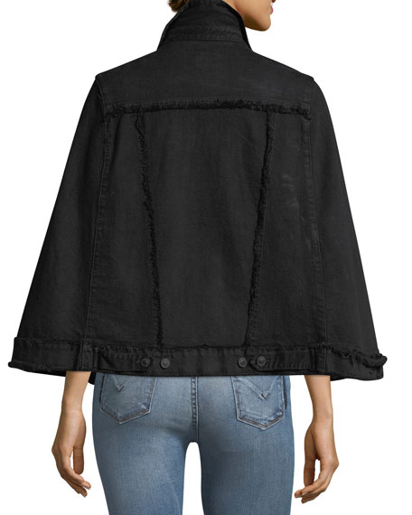 Revolver Button-Front Denim Cape