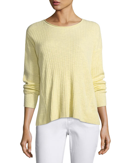 Eileen Fisher Ribbed Slub Long-Sleeve Top, Petite