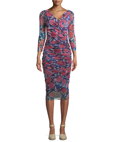 Fuzzi Rose-Print Shirred V-Neck Dress