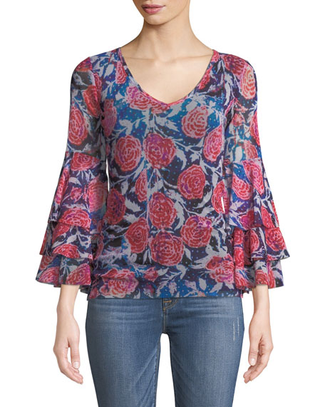 Fuzzi Rose-Print Ruffle-Sleeve Top