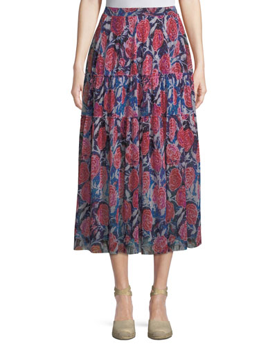 Rose-Print Tiered Maxi Skirt