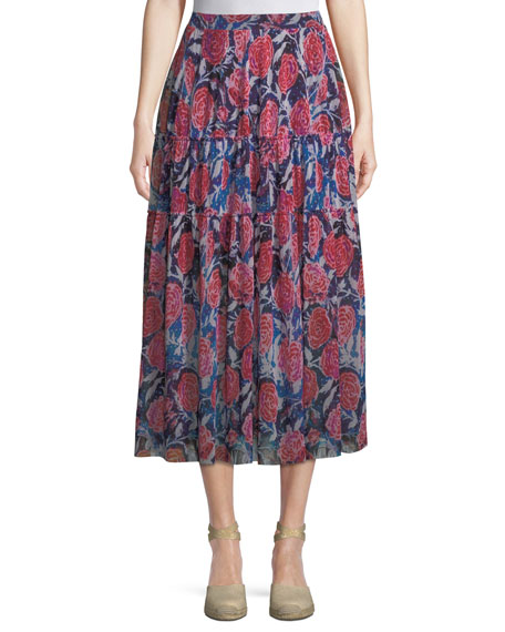 Fuzzi Rose-Print Tiered Maxi Skirt