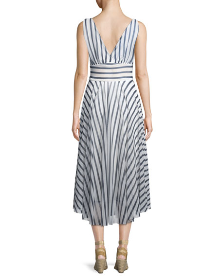 Striped Hollywood V-Neck Dress