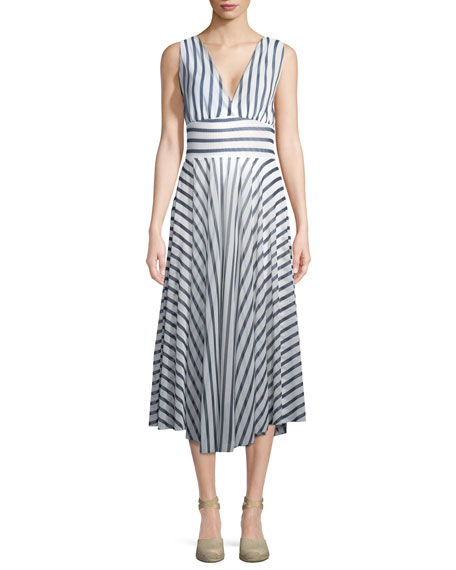 Striped Hollywood V-Neck Dress