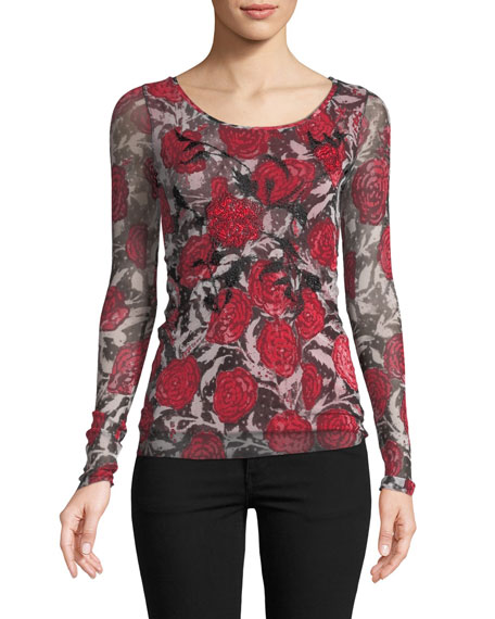 Rose-Print Embroidered Long-Sleeve Top