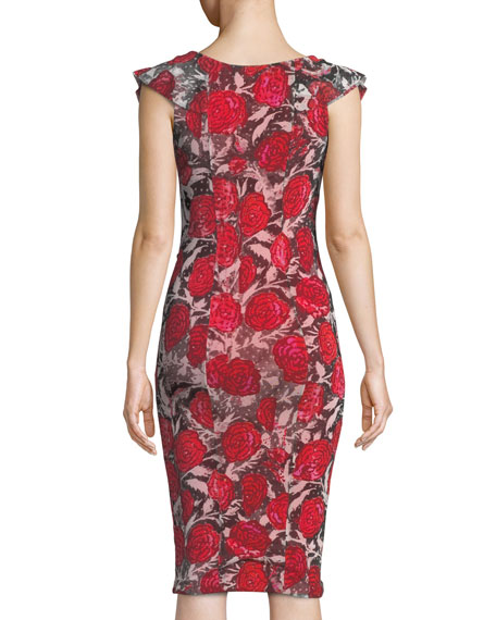 Rose-Print Ruffle V-Neck Dress