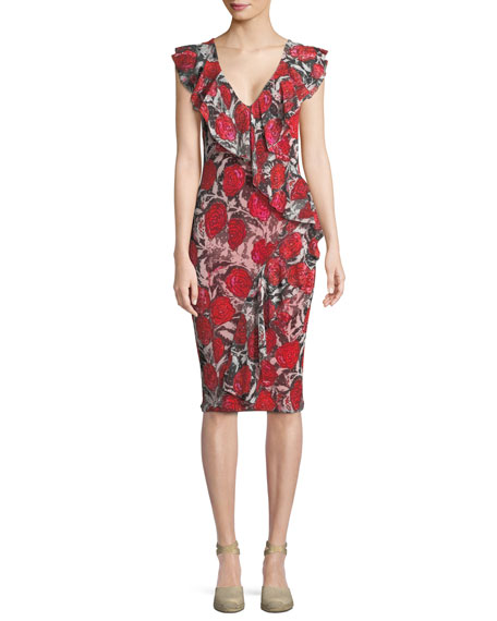 Fuzzi Rose-Print Ruffle V-Neck Dress