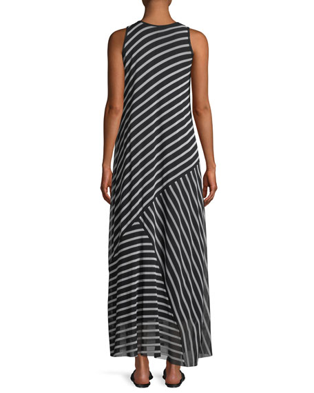 Striped Patch Sleeveless Maxi Dress