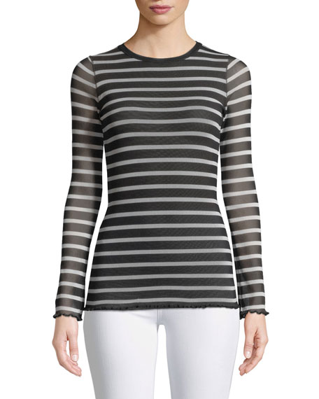 Fuzzi Sheer Striped Long-Sleeve Top