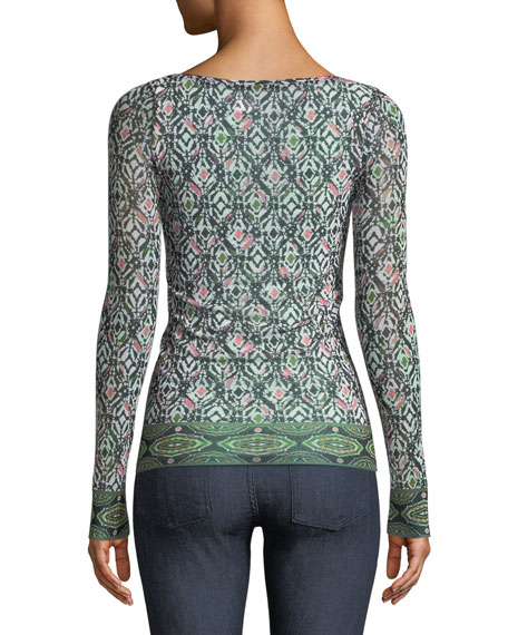 Urban Tribe-Print Embroidered Long-Sleeve Top