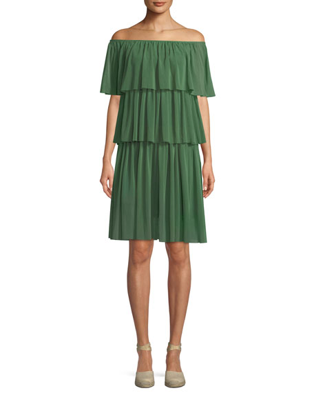 Fuzzi Three-Tier Off-the-Shoulder Ruffle Dress