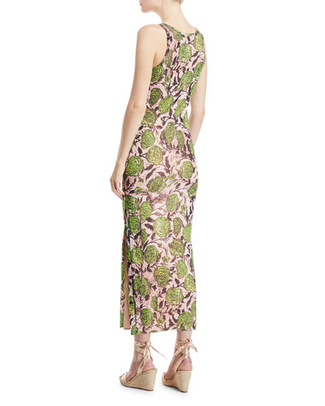 Rose-Print Side-Button Maxi Dress